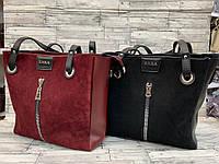 Женскаясумка-шоппер экокожа и натуральная замша Zara, жіноча сумка зара, фото 1
