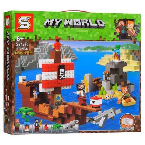 "Конструктор SY 1270 ""Приключения на пиратском корабле"" (аналог Lego Майнкрафт, Minecraft 21152), 417 дет"