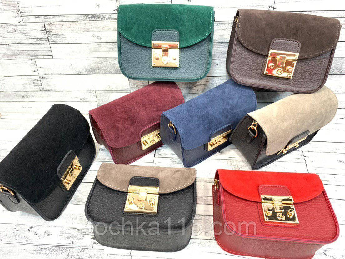 Женская кожаная сумка клатч, натуральная замша, жіноча сумка