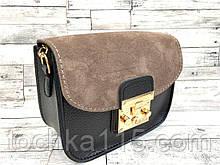 Женская кожаная сумка клатч, натуральная замша, жіноча сумка черный/коричневый