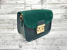 Женская кожаная сумка клатч, натуральная замша, жіноча сумка зеленый