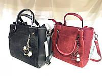 Женскаякожаная замшевая сумка, жіноча сумка, фото 1