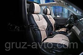 Накидки на сидения CarFashion FULL 3D  Мoдель: SECTOR черный, бежевый, черный   (21901)