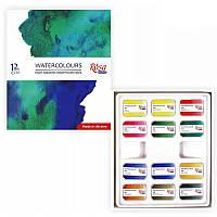 Набор акварельных красок Rosa Studio Watercolours 12 цветов кювета картонная коробка