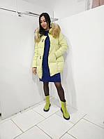 Женская зимняя куртка с капюшоном желтая