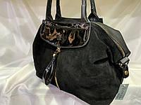 Женскаякожаная замшевая сумка, с золотой змейкой, жіноча сумка, фото 1