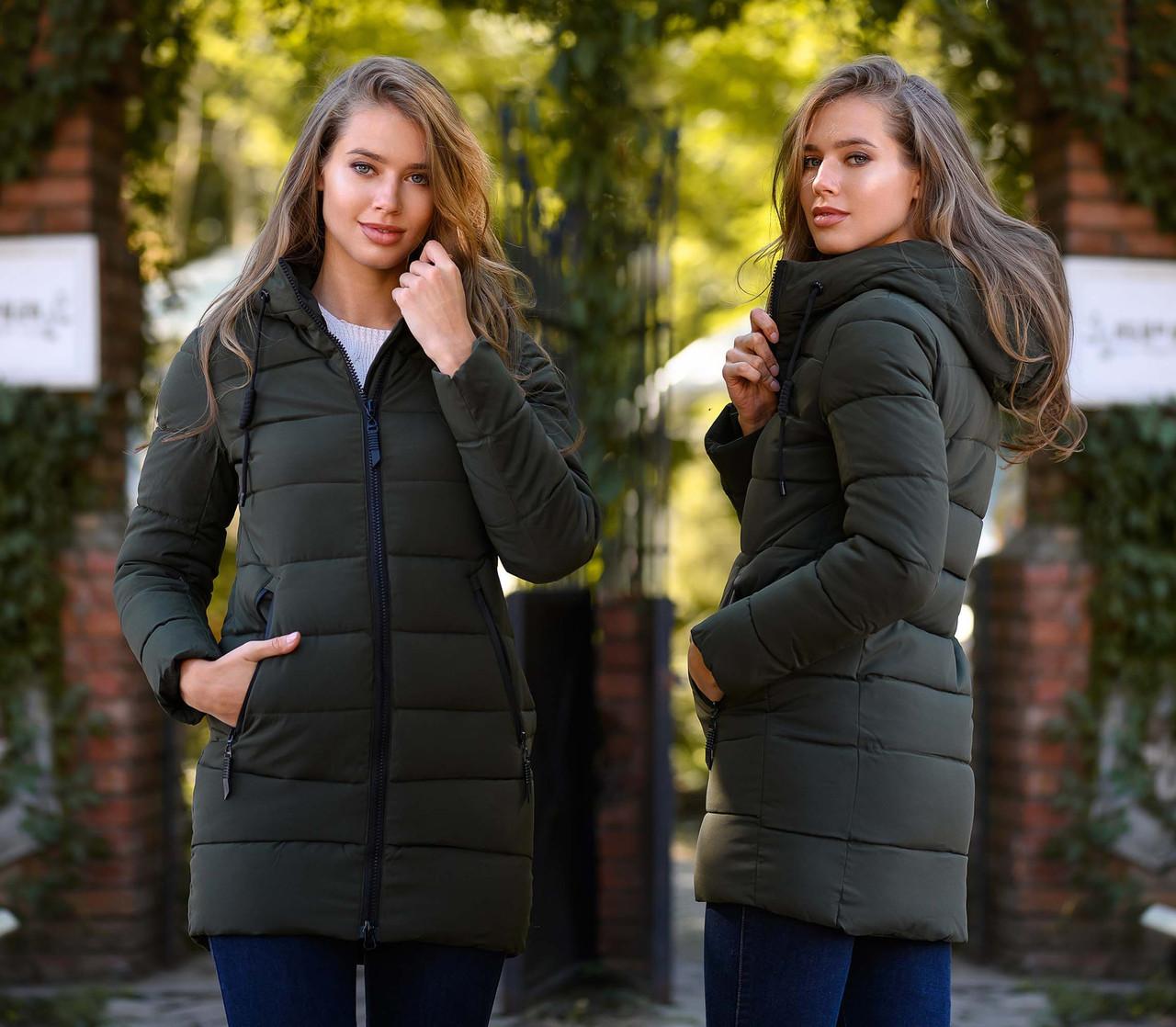 """Жіноча зимова куртка холлофайбер до великих розмірів 1981-1 """"Стібка Смуги Капюшон"""" в кольорах"""