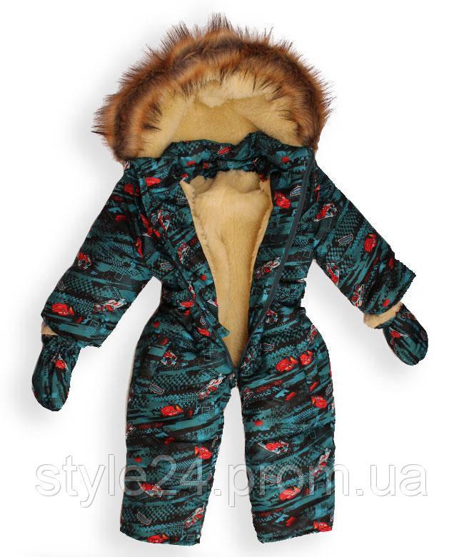 Зимовий комбинезон з рукавичками на хлопчика ростом 83-96см