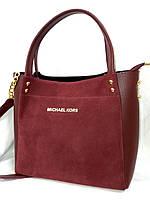 Женская сумка Michael Kors замшевая, бордовая, 0528-1