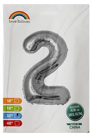 Фольгированные шары цифры Серебро 70 см индивидуальная упаковка