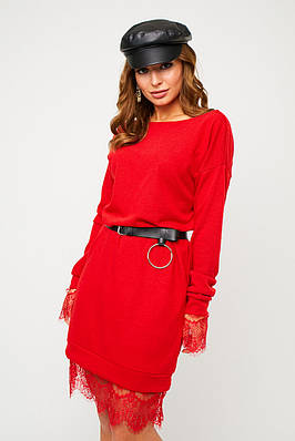 Коротке червоне ангоровое сукню з гіпюром