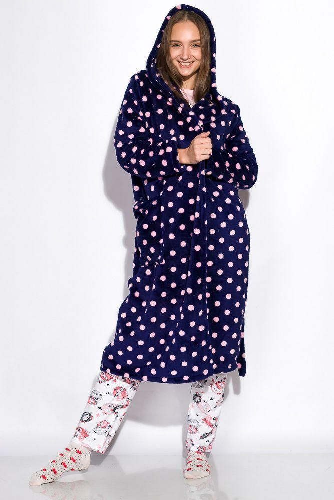 Халат женский темно-синий-розовый L, M, XL, XXL