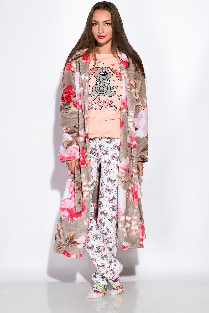 Халат женский розово-серый L, XL, XXL