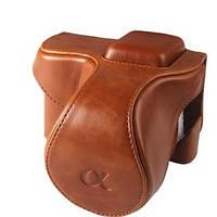 Защитный футляр - чехол для фотоаппаратов SONY NEX-5, NEX-5C, NEX-5T, NEX-5R, A5000 - коричневый