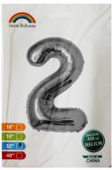"""Фольгированная цифра 2 серебро индивидуальная упаковка 70 см 32"""" Китай"""