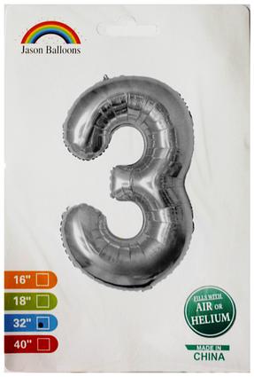 """Фольгированная цифра 3 серебро индивидуальная упаковка 70 см 32"""" Китай"""