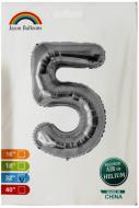 """Фольгированная цифра 5 серебро индивидуальная упаковка 70 см 32"""" Китай"""