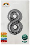 """Фольгированная цифра 8 серебро индивидуальная упаковка 70 см 32"""" Китай"""