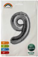 """Фольгированная цифра 9 серебро индивидуальная упаковка 70 см 32"""" Китай"""