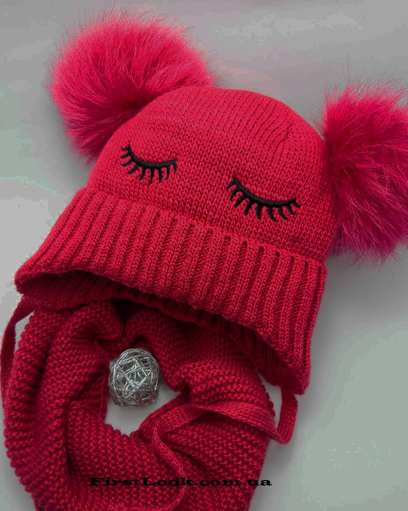 Детский зимний комплект шапка+снуд  на девочку(4-6 лет)