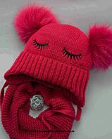 Детский зимний комплект шапка+снуд  на девочку(4-6 лет), фото 1