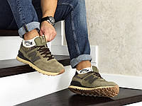 Кроссовки New Balance 574 зимние с мехом, (мужские, замш, коричневые)