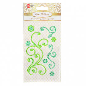 "Узор-аппликация из страз Santi самоклеящаяся ""Fine swirls"", цвет зеленый, 10 х 6 см."