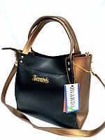 Женская сумка Michael Kors черная с бронзовыми вставками, 05-01
