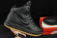 Зимние Мужские Ботинки Nike Lunar Force 1 арт 20668 (зимние, найк, черные)