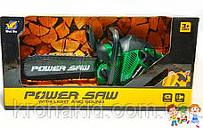 Детская игрушечная бензопила Power Saw на батарейках со ЗВУКОМ 192E1  (Green / зеленый), фото 2