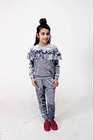 Бархатный костюм для девочки (Кофта+Штаны) Brendinno, арт-1788, размер 134 см, цвет-Серый