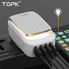 Мережевий зарядний пристрій LED каганець TOPK C4405 Qualcomm 22W 4xUSB порту з White LED підсвічуванням