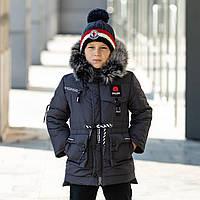 Зимова куртка на флісі з натуральною опушкою на капюшоні   Р-ри 110-140, фото 1
