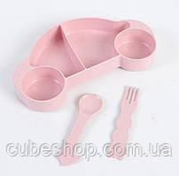 """Детская бамбуковая посуда """"Машинка"""" (розовая)"""