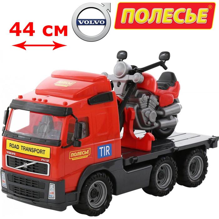 Детская машинка эвакуатор Грузовик Вольво, Volvo + мотоцикл Байк, в сеточке (8770), Полесье