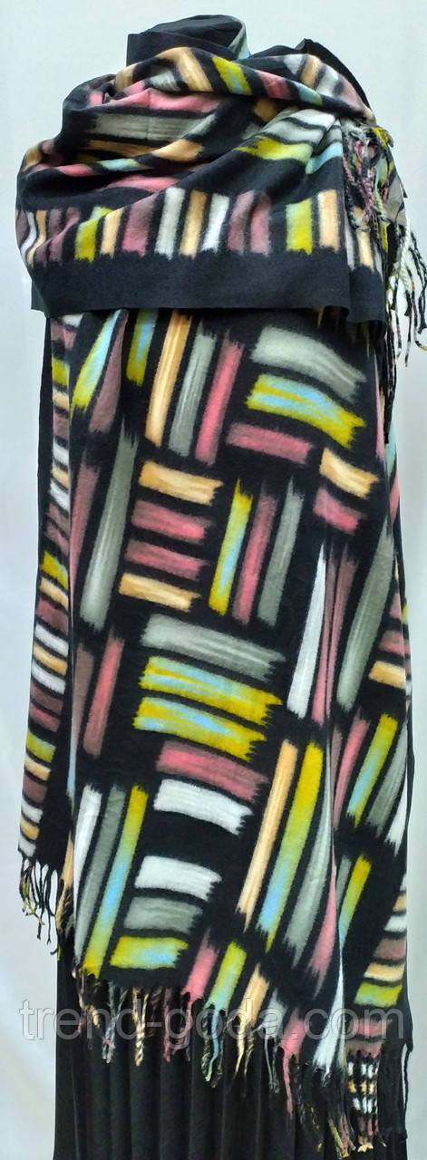 Шарф палантин кашемировый, черный с цветными вставками, двухсторонний