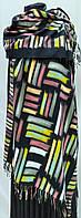 Шарф палантин кашемировый, черный с цветными вставками, двухсторонний, фото 1