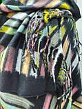 Шарф палантин кашемировый, черный с цветными вставками, двухсторонний, фото 2