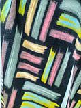 Шарф палантин кашемировый, черный с цветными вставками, двухсторонний, фото 3