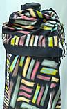 Шарф палантин кашемировый, черный с цветными вставками, двухсторонний, фото 4