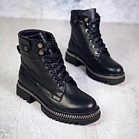Зимние кожаные  ботинки на шнуровке 36-40 р чёрный