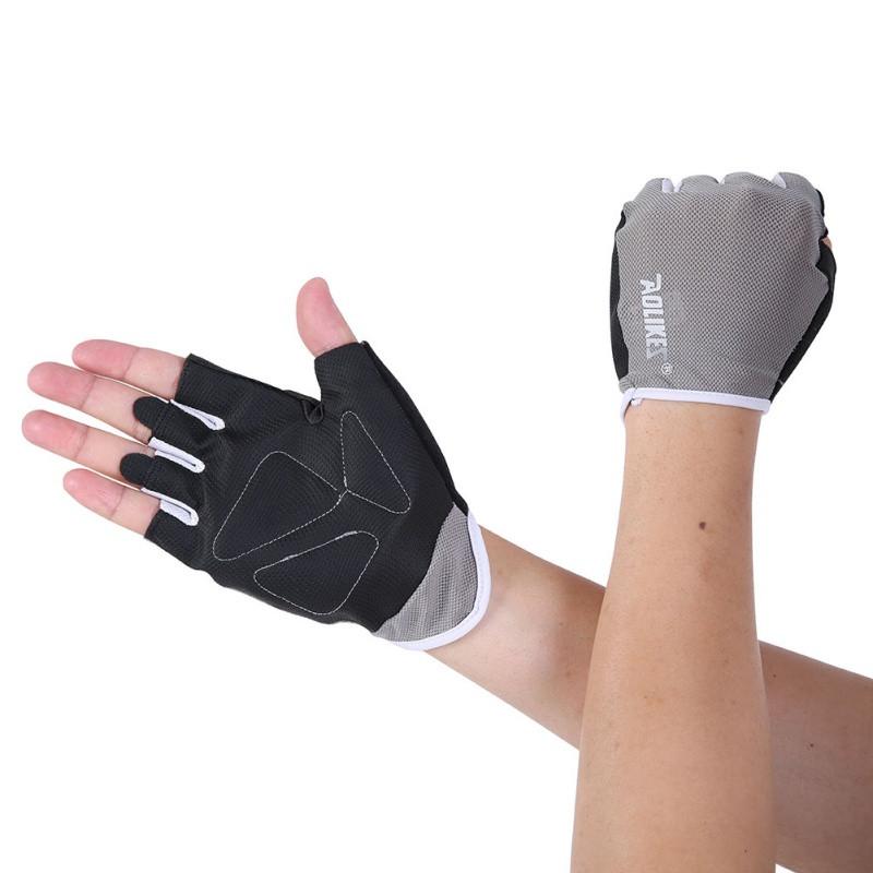 Рукавички для фітнесу Aolikes сірий з чорним