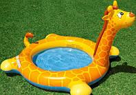Детский надувной бассейн с фонтанчиком жираф интекс 229х56 см
