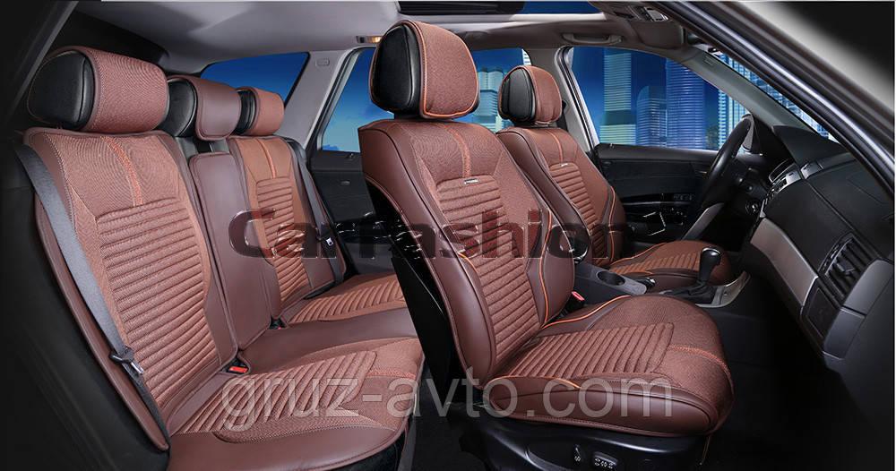 Накидки на сидения CarFashion FULL 3D Мoдель: SECTOR коричневый, коричневый, коричневый           (22276)