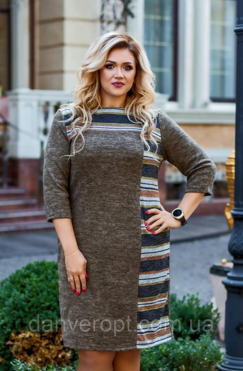 Платье женское модное стильная полоска размер 52-58 купить оптом со склада 7км Одесса