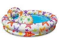 Детский бассейн звёзды с мячом и кругом интекс Intex 122х25см
