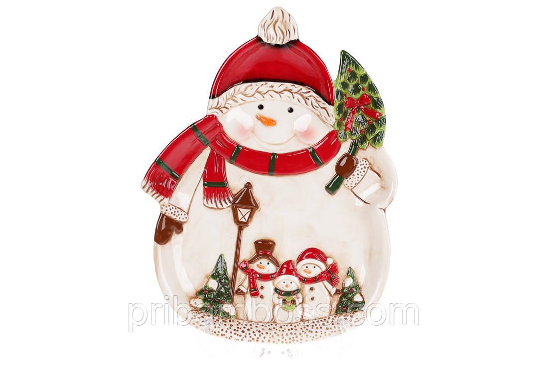 Новогоднее сервировочное блюдо Снеговики, 33см 2 шт.