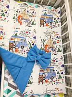 """Демисезонный двусторонний конверт-плед на выписку """"Kid Way"""" флисовый голубой """"Кэмпинг"""""""