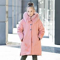 Зимова куртка на флісі на дівчинку з вишивкою та натуральним писцем. Р-ри 128-146, фото 1