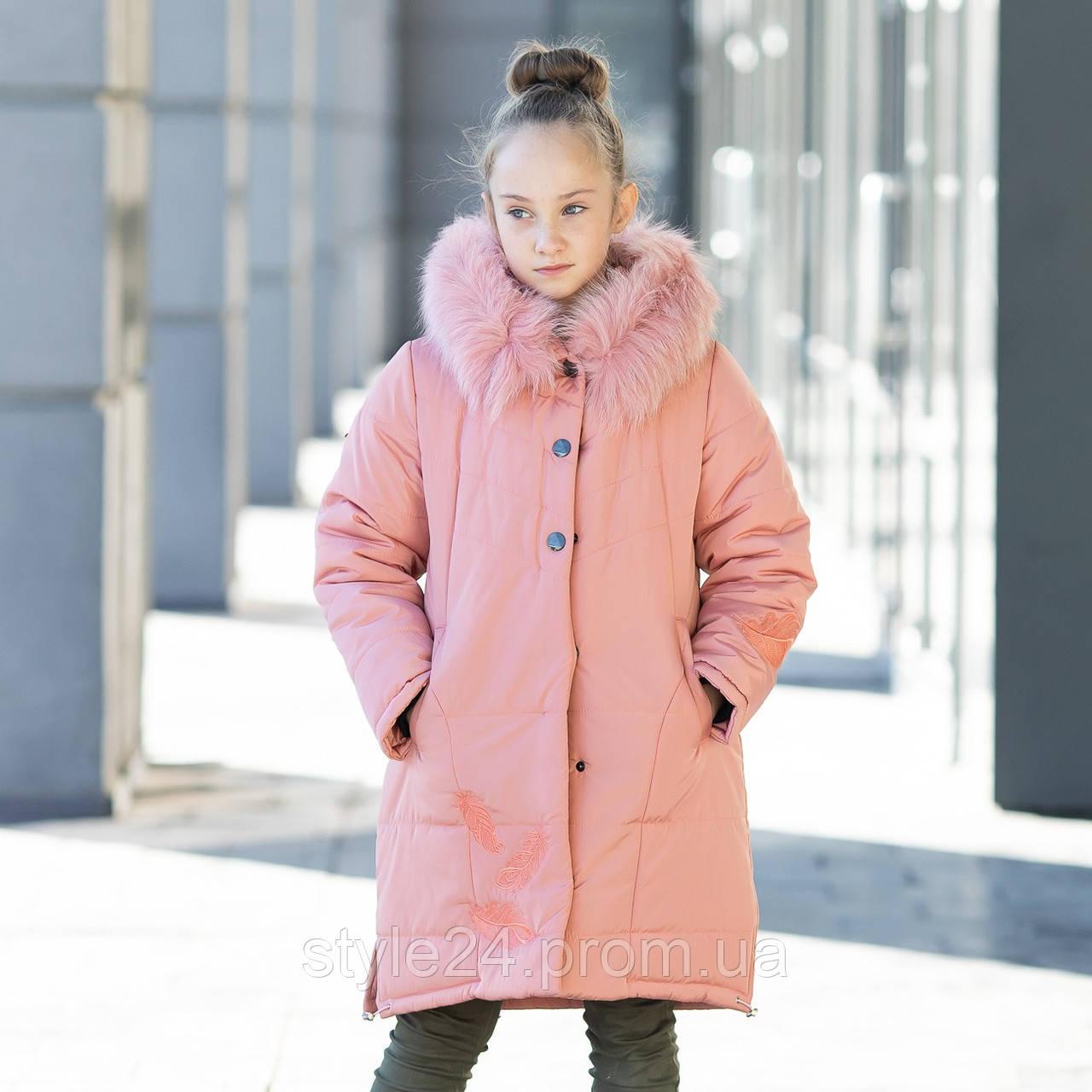 Зимова куртка на флісі на дівчинку з вишивкою та натуральним писцем. Р-ри 128-146